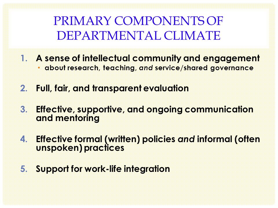 PRIMARY COMPONENTS OF DEPARTMENTAL CLIMATE 1.A sense of intellectual community and engagement about research, teaching, and service/shared governance 2.Full, fair, and transparent evaluation 3.Effective, supportive, and ongoing communication and mentoring 4.Effective formal (written) policies and informal (often unspoken) practices 5.Support for work-life integration