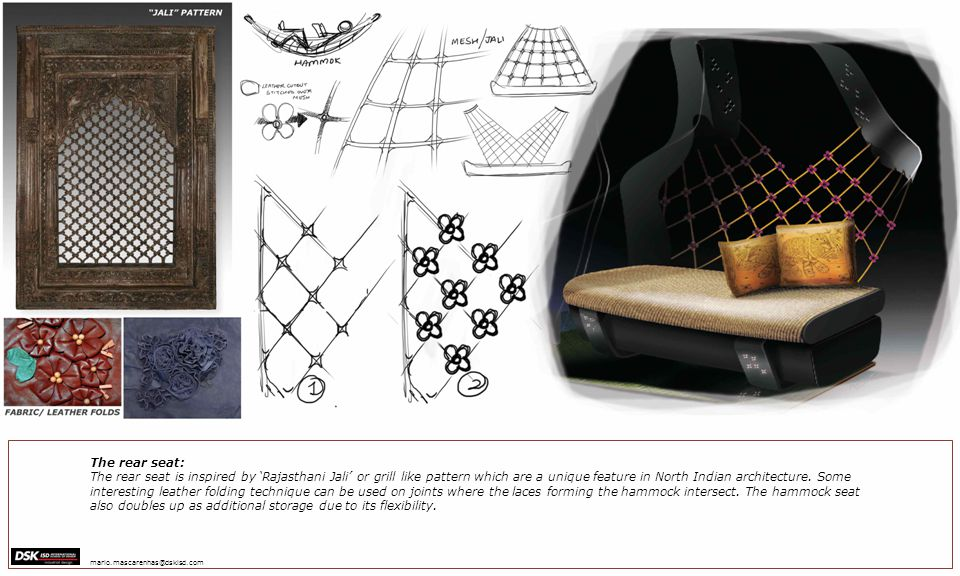 The rear seat: The rear seat is inspired by Rajasthani Jali or grill like pattern which are a unique feature in North Indian architecture.