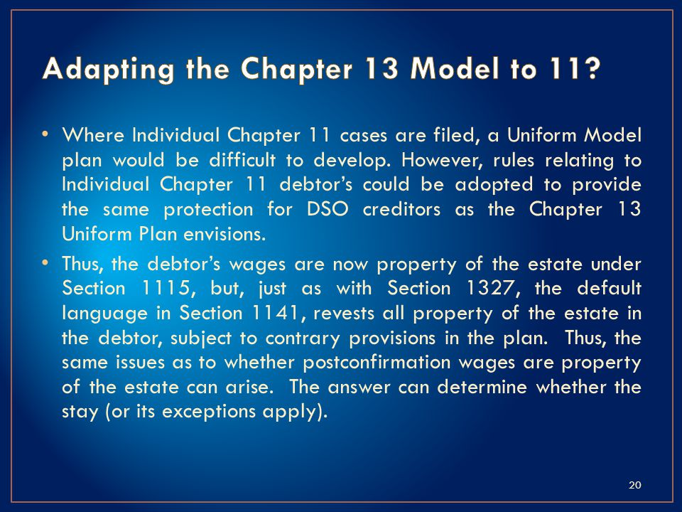 Where Individual Chapter 11 cases are filed, a Uniform Model plan would be difficult to develop.