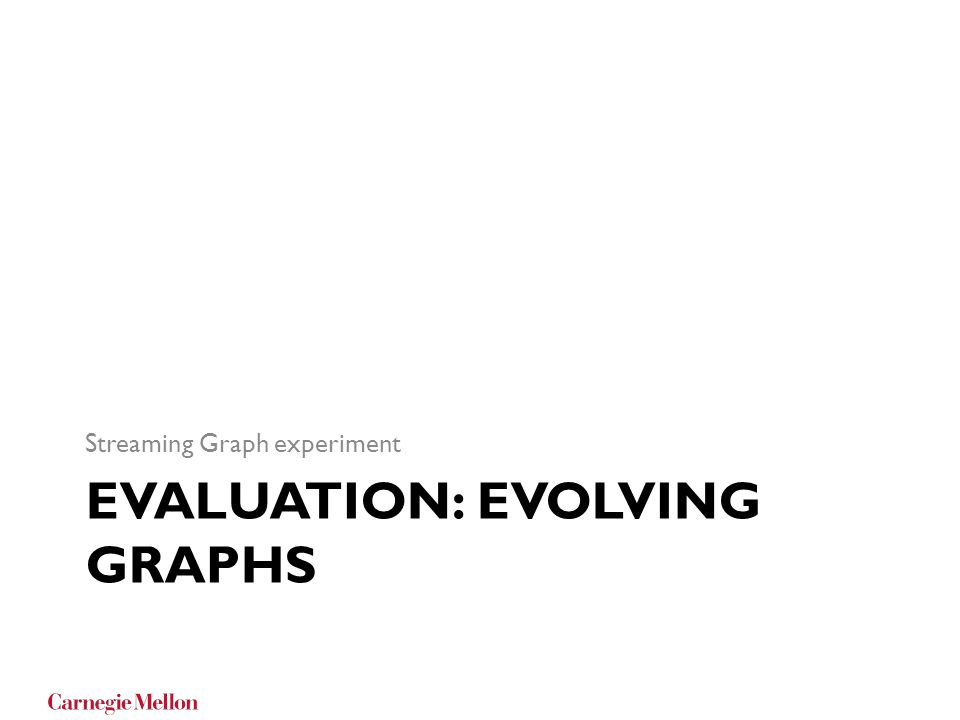 EVALUATION: EVOLVING GRAPHS Streaming Graph experiment