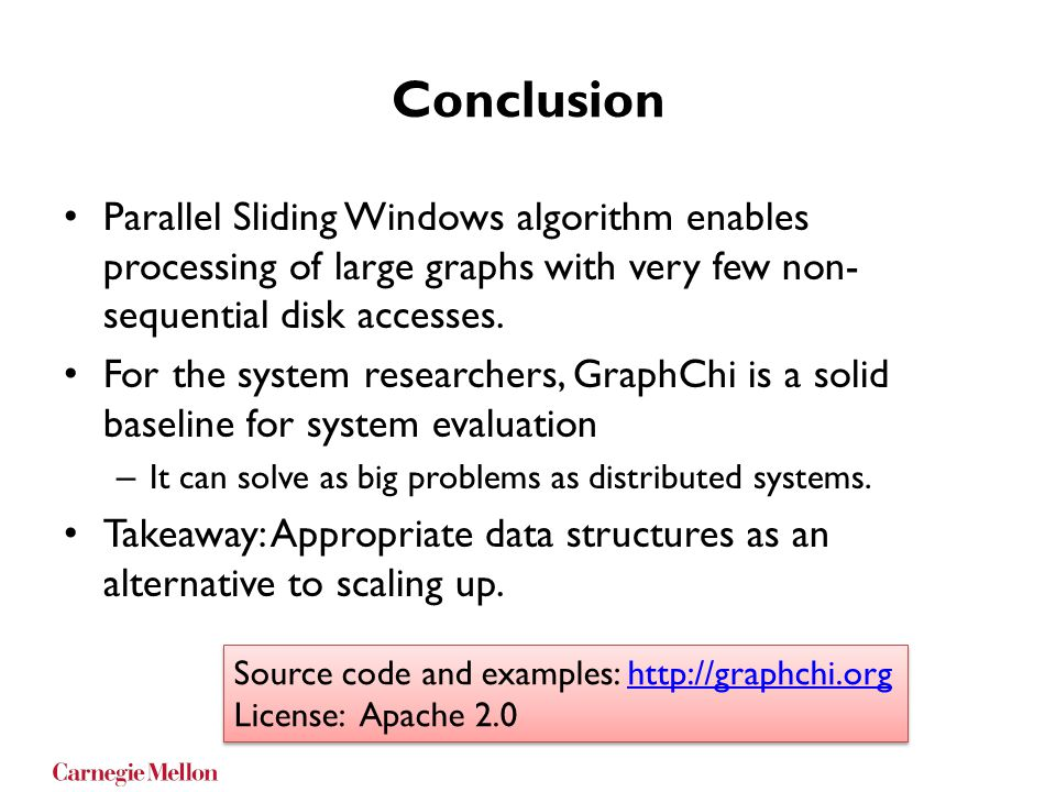 Conclusion Parallel Sliding Windows algorithm enables processing of large graphs with very few non- sequential disk accesses. For the system researche