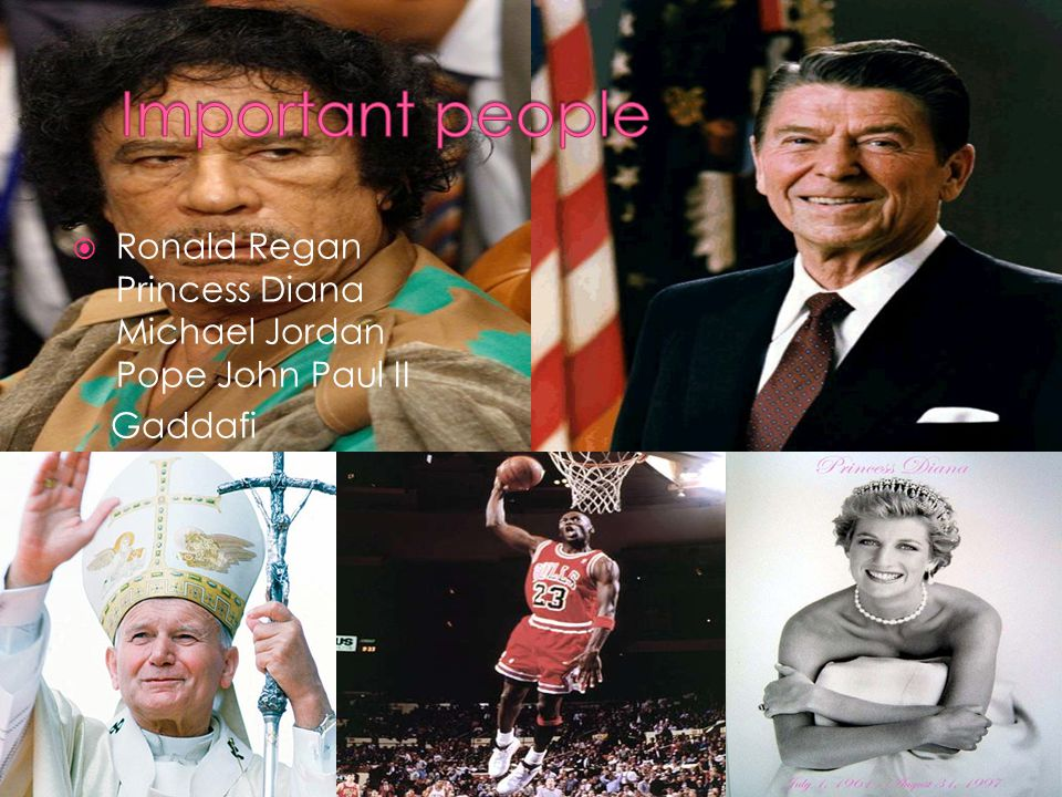 Ronald Regan Princess Diana Michael Jordan Pope John Paul II Gaddafi