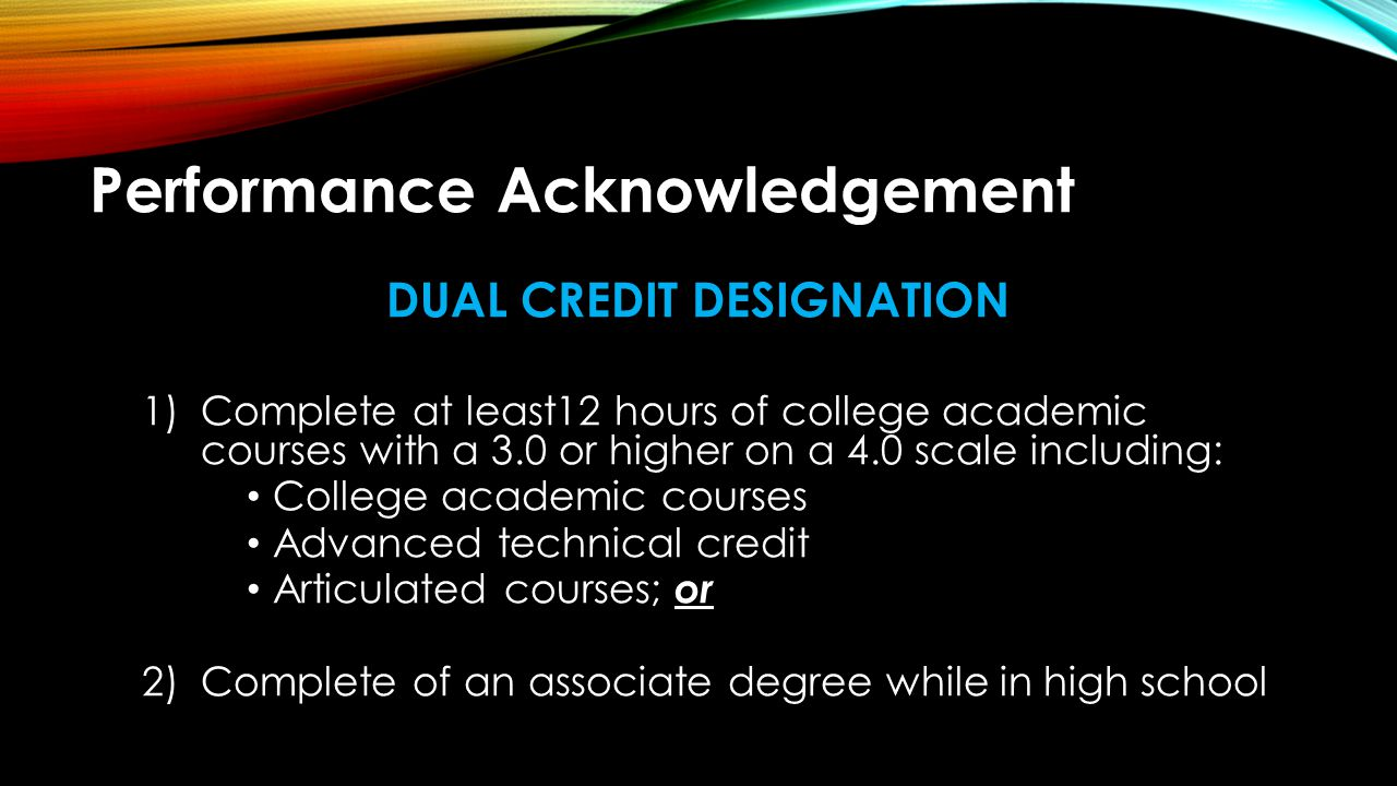 Performance Acknowledgement BILINGUALISM & BI-LITERACY Complete all English language arts requirements and maintain a minimum grade average of an 80 on a scale of 100 in the ELA courses ; and Complete at least 3 credits in the same language other than English with a minimum grade average of an 80 on a scale of 100; or Complete a level IV or higher level language other than English with an 80 on a scale of 100; or Demonstrate proficiency in one or more languages other than English by earning 1.a score of 3 or more on a College Board Advanced Placement (AP) exam in a language other than English; or 2.a score of 4 or higher on an International Baccalaureate exam in a higher level languages other than English course; or 3.performance on a national assessment of language proficiency in a language other than English of at least Intermediate High or its equivalent