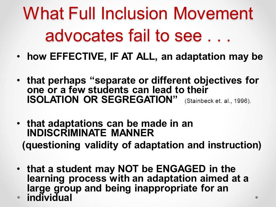 What Full Inclusion Movement advocates fail to see...