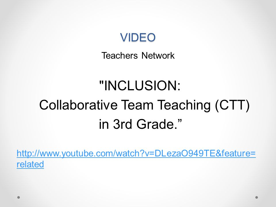 VIDEO Teachers Network INCLUSION: Collaborative Team Teaching (CTT) in 3rd Grade.