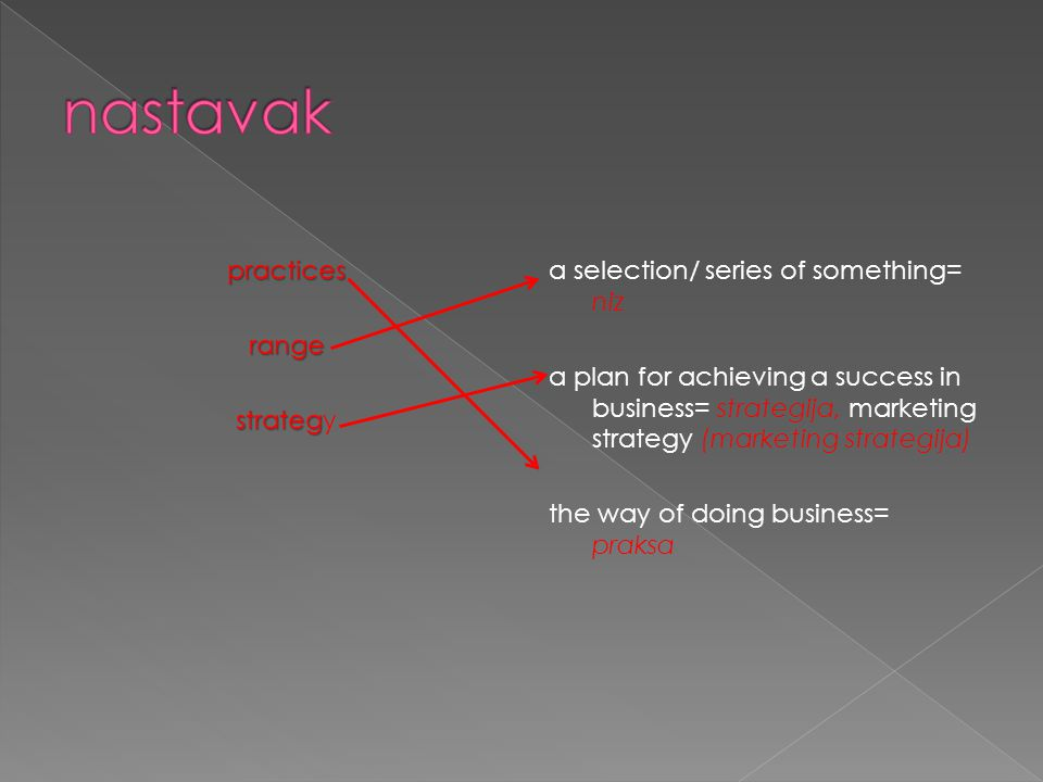 practicesrange strateg strategy a selection/ series of something= niz a plan for achieving a success in business= strategija, marketing strategy (marketing strategija) the way of doing business= praksa