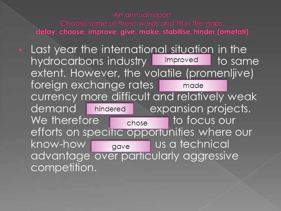 Last year the international situation in the hydrocarbons industry to same extent.