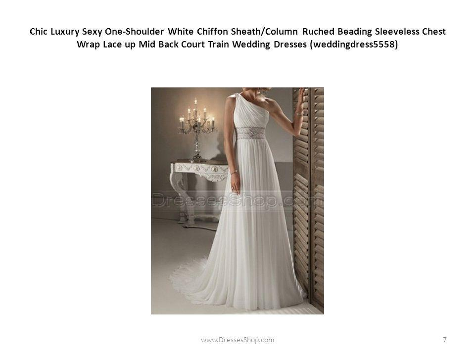 Chic Luxury Sexy One-Shoulder White Chiffon Sheath/Column Ruched Beading Sleeveless Chest Wrap Lace up Mid Back Court Train Wedding Dresses (weddingdress5558) www.DressesShop.com7