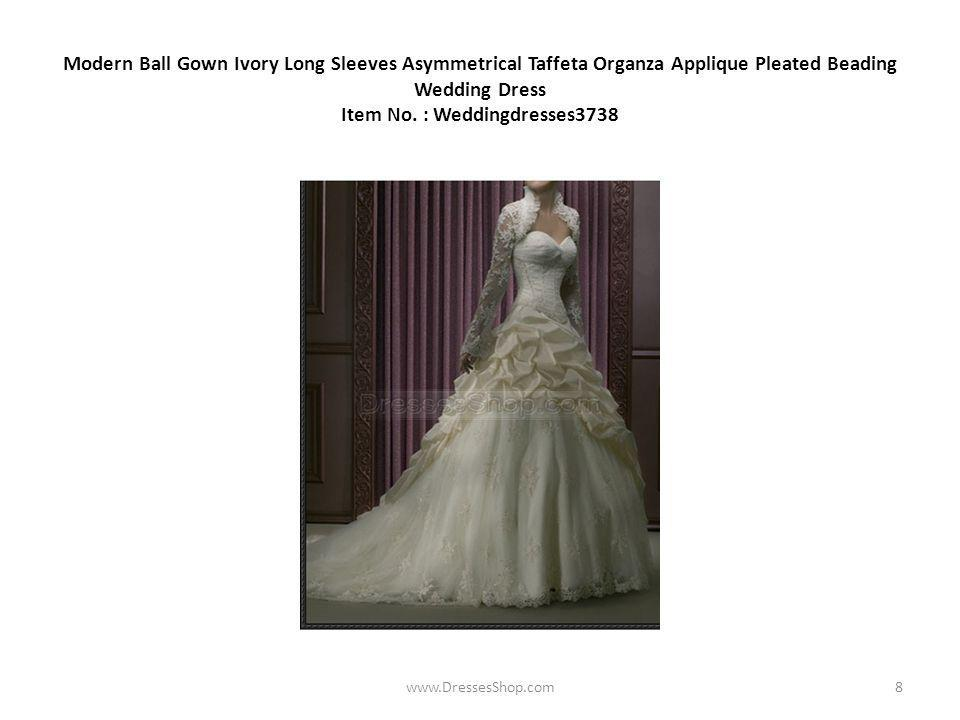 Modern Ball Gown Ivory Long Sleeves Asymmetrical Taffeta Organza Applique Pleated Beading Wedding Dress Item No.