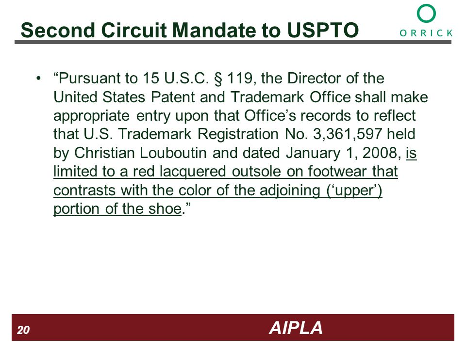 20 20 AIPLA Firm Logo Second Circuit Mandate to USPTO Pursuant to 15 U.S.C.