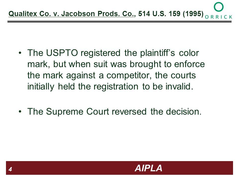 4 4 4 AIPLA Firm Logo Qualitex Co. v. Jacobson Prods.