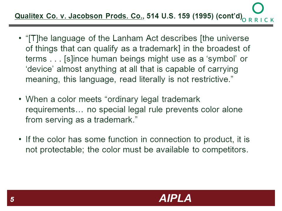 5 5 5 AIPLA Firm Logo Qualitex Co. v. Jacobson Prods.