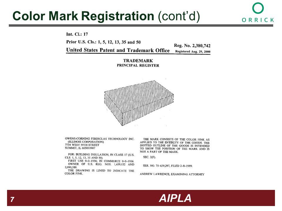 7 7 7 AIPLA Firm Logo Color Mark Registration (contd)