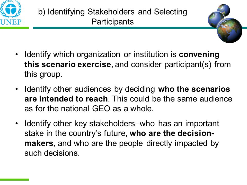 Identify which organization or institution is convening this scenario exercise, and consider participant(s) from this group.