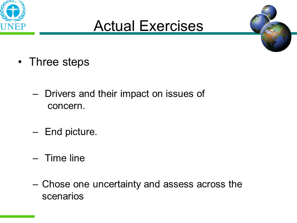 Actual Exercises Three steps – Drivers and their impact on issues of concern.