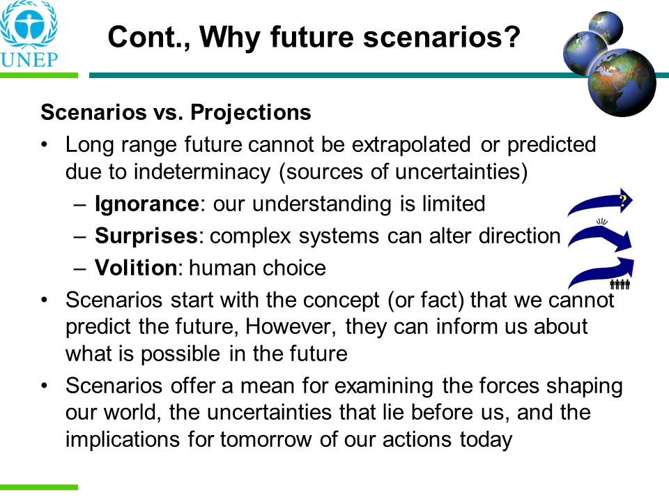 Scenarios vs. Projections Long range future cannot be extrapolated or predicted due to indeterminacy (sources of uncertainties) –Ignorance: our unders