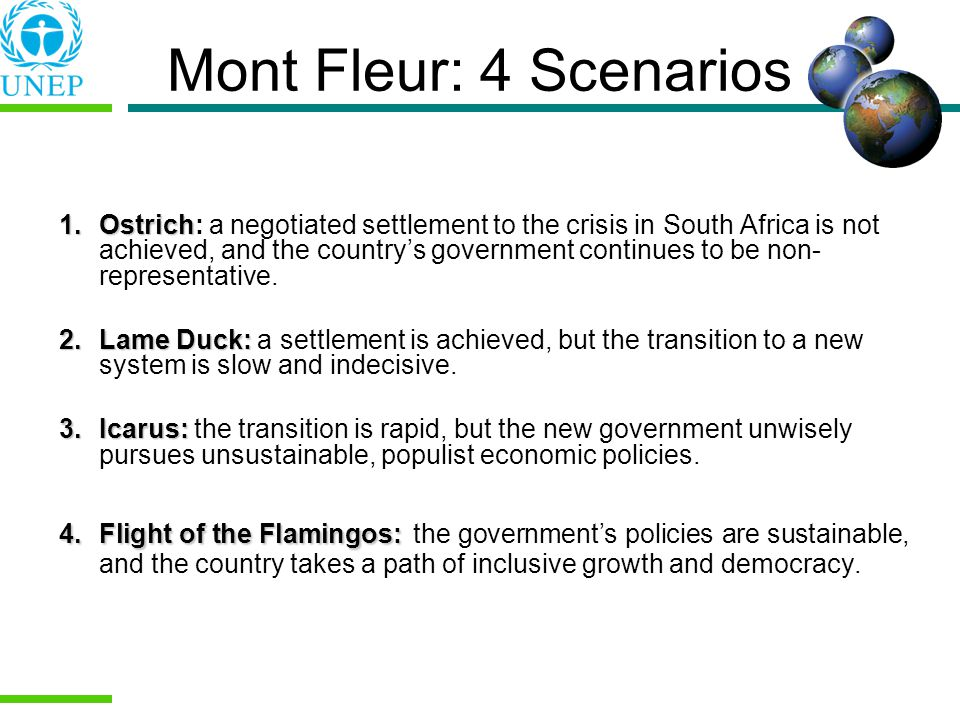 Mont Fleur: 4 Scenarios 1.Ostrich 1.Ostrich: a negotiated settlement to the crisis in South Africa is not achieved, and the countrys government continues to be non- representative.
