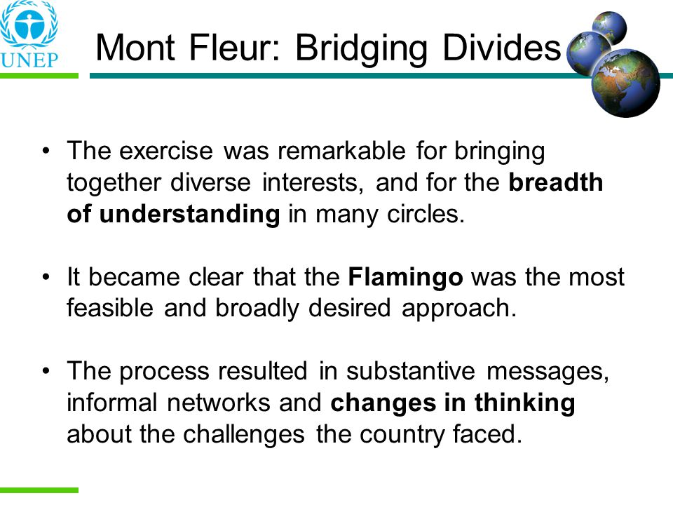 Mont Fleur: Bridging Divides The exercise was remarkable for bringing together diverse interests, and for the breadth of understanding in many circles.