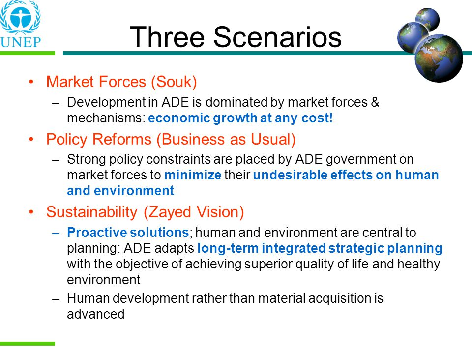 Three Scenarios Market Forces (Souk) –Development in ADE is dominated by market forces & mechanisms: economic growth at any cost.