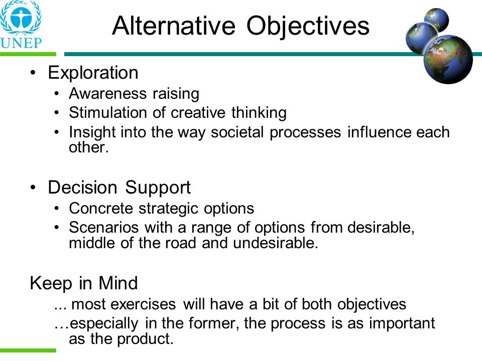 Alternative Objectives Exploration Awareness raising Stimulation of creative thinking Insight into the way societal processes influence each other.