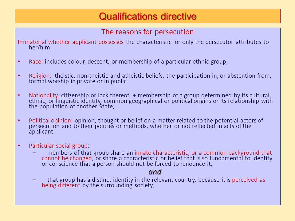 Qualifications directive The reasons for persecution Immaterial whether applicant possesses the characteristic or only the persecutor attributes to he