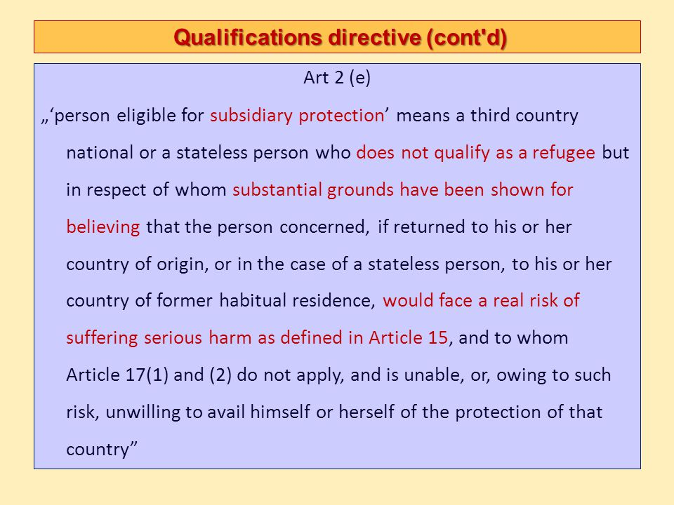 Qualifications directive Cessation, exclusion Cessation Usual GC grounds (re-availement of protection, re-acquiring nationality, acquiring new nationality, re-establishment in country of origin, circumstances justifying ref.