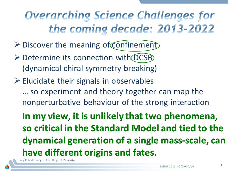 Visible Impacts of DCSB MENU 2013: 30/09-04/10 Craig Roberts: Images of the Origin of Mass (44p) 34 Apparently small changes in M(p) within the domain 1<p(GeV)<3 have striking effect on the protons electric form factor The possible existence and location of the zero is determined by behaviour of Q 2 F 2 p (Q 2 ) Like the pions PDA, Q 2 F 2 p (Q 2 ) measures the rate at which dressed- quarks become parton-like: F 2 p =0 for bare quark-partons Therefore, G E p cant be zero on the bare-parton domain I.C.