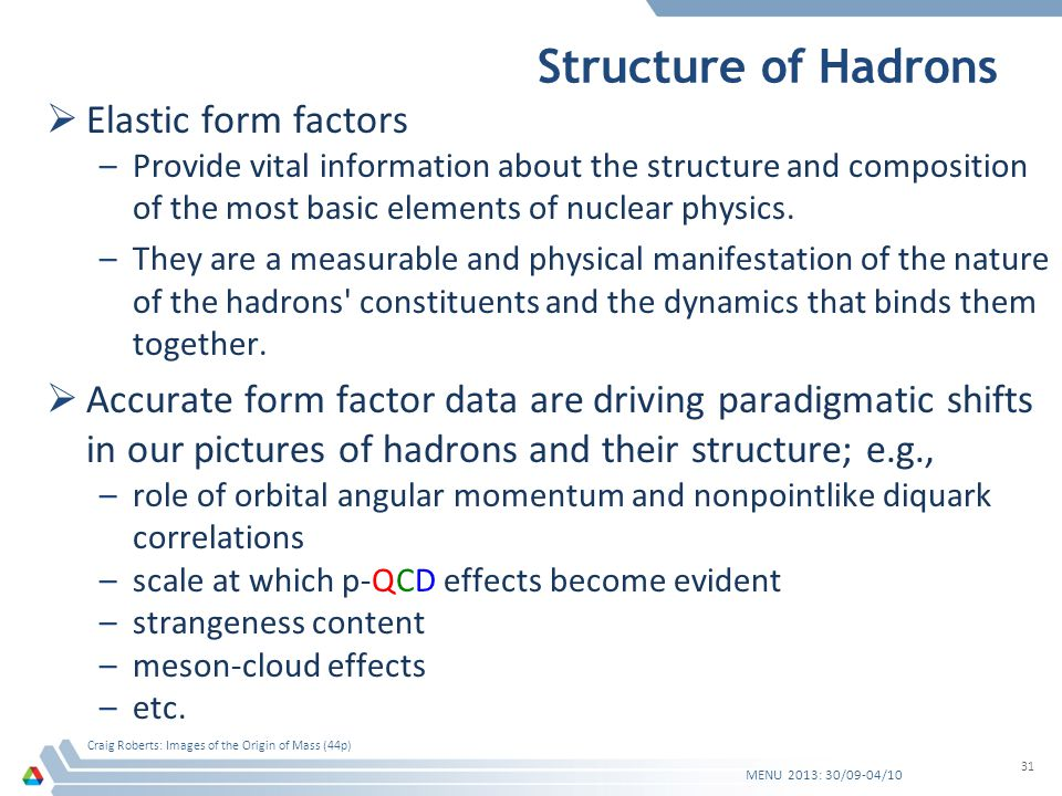 Structure of Hadrons Elastic form factors –Provide vital information about the structure and composition of the most basic elements of nuclear physics.