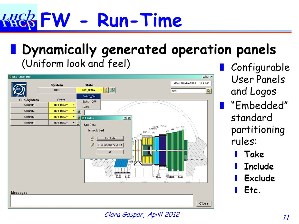 Clara Gaspar, April 2012 11 FW - Run-Time Dynamically generated operation panels (Uniform look and feel) Configurable User Panels and Logos Embedded standard partitioning rules: Take Include Exclude Etc.