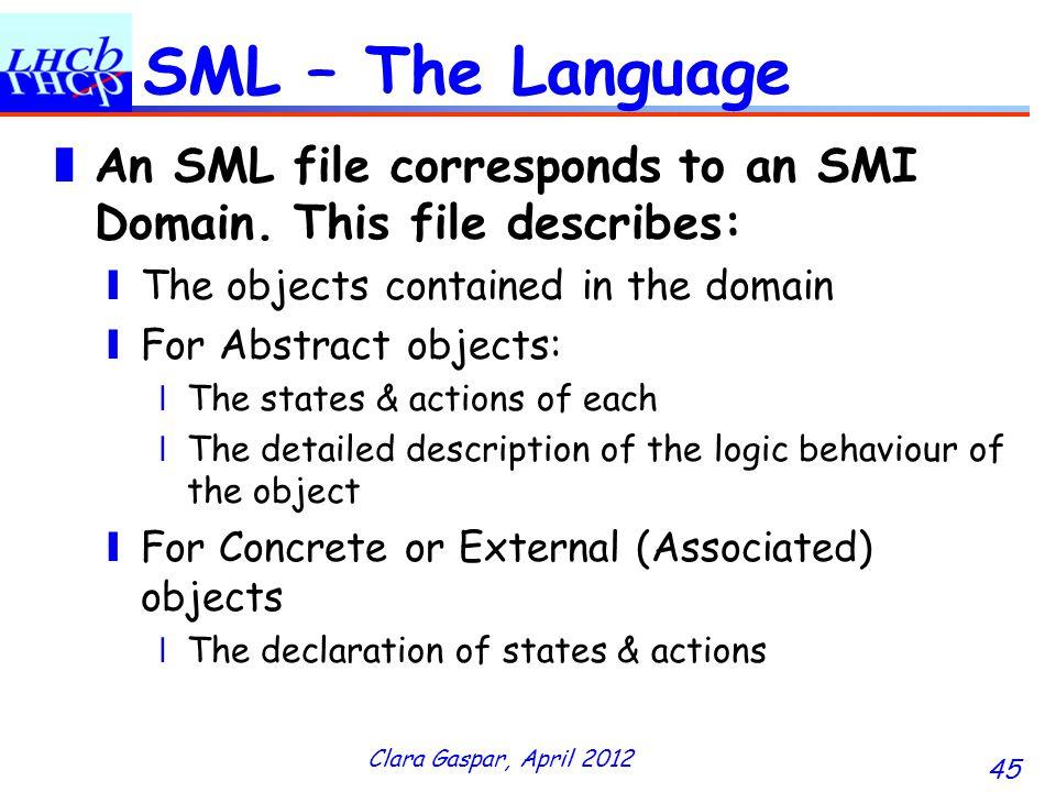 Clara Gaspar, April 2012 45 SML – The Language An SML file corresponds to an SMI Domain.