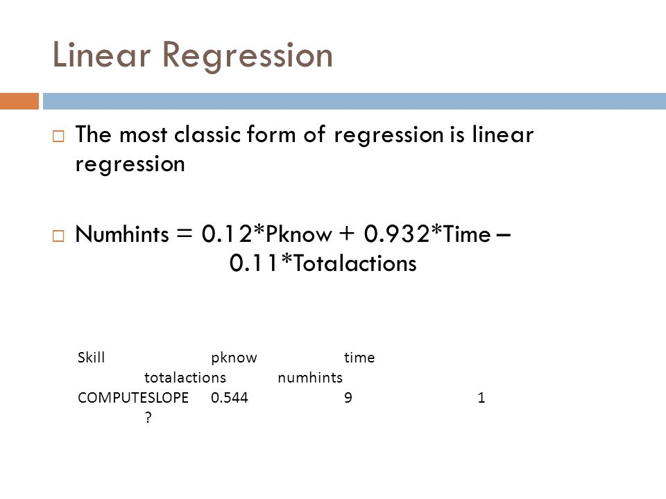 Linear Regression The most classic form of regression is linear regression Numhints = 0.12*Pknow + 0.932*Time – 0.11*Totalactions Skillpknowtime totalactionsnumhints COMPUTESLOPE0.54491 ?