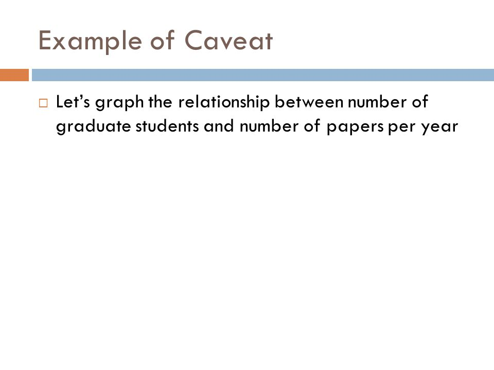 Example of Caveat Lets graph the relationship between number of graduate students and number of papers per year