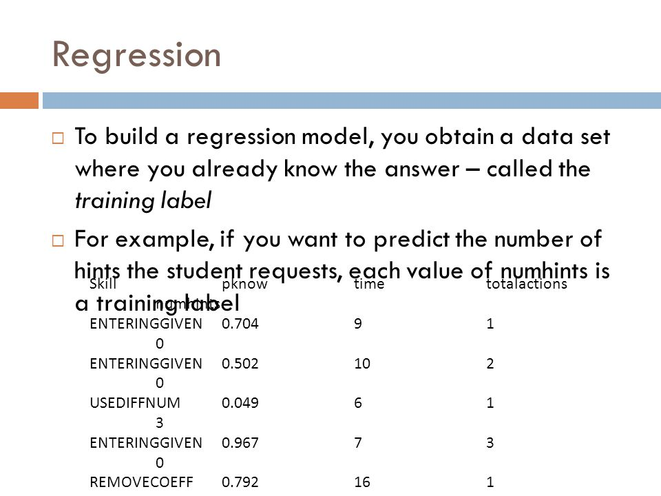Regression To build a regression model, you obtain a data set where you already know the answer – called the training label For example, if you want to predict the number of hints the student requests, each value of numhints is a training label Skillpknowtimetotalactions numhints ENTERINGGIVEN0.70491 0 ENTERINGGIVEN0.502102 0 USEDIFFNUM0.04961 3 ENTERINGGIVEN0.96773 0 REMOVECOEFF0.792161 1 REMOVECOEFF0.792132 0 USEDIFFNUM0.07352 0 ….