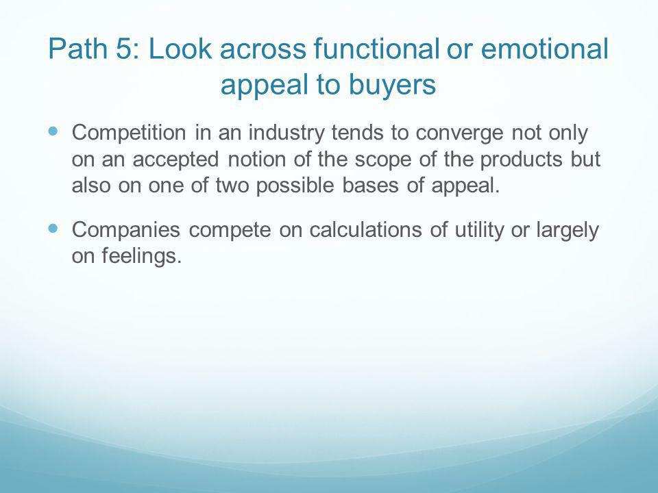 Path 5: Look across functional or emotional appeal to buyers Competition in an industry tends to converge not only on an accepted notion of the scope