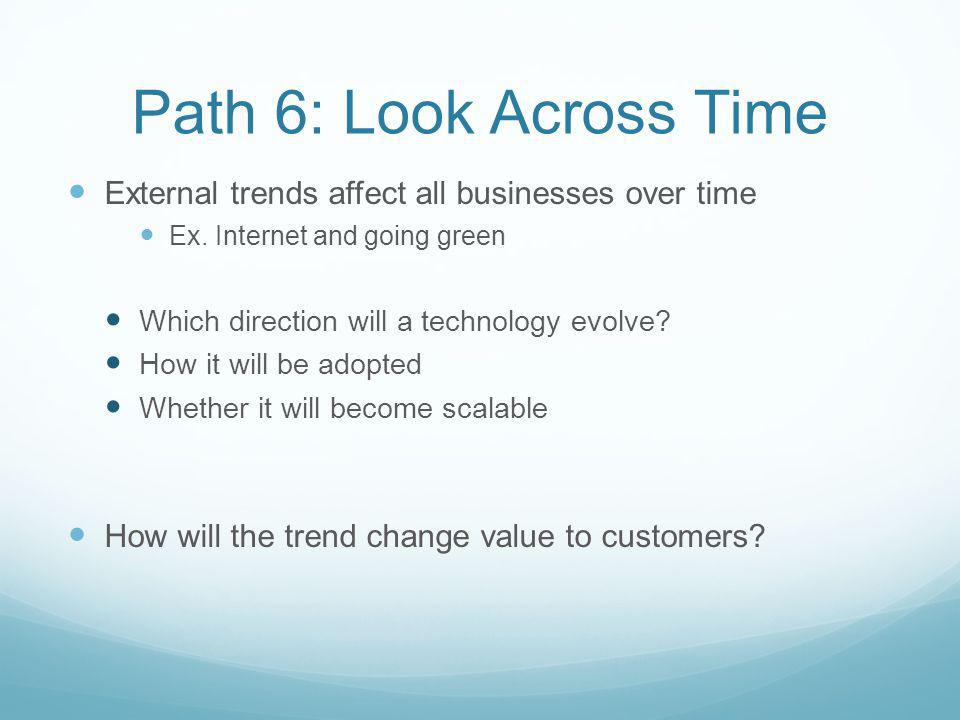 Path 6: Look Across Time External trends affect all businesses over time Ex. Internet and going green Which direction will a technology evolve? How it