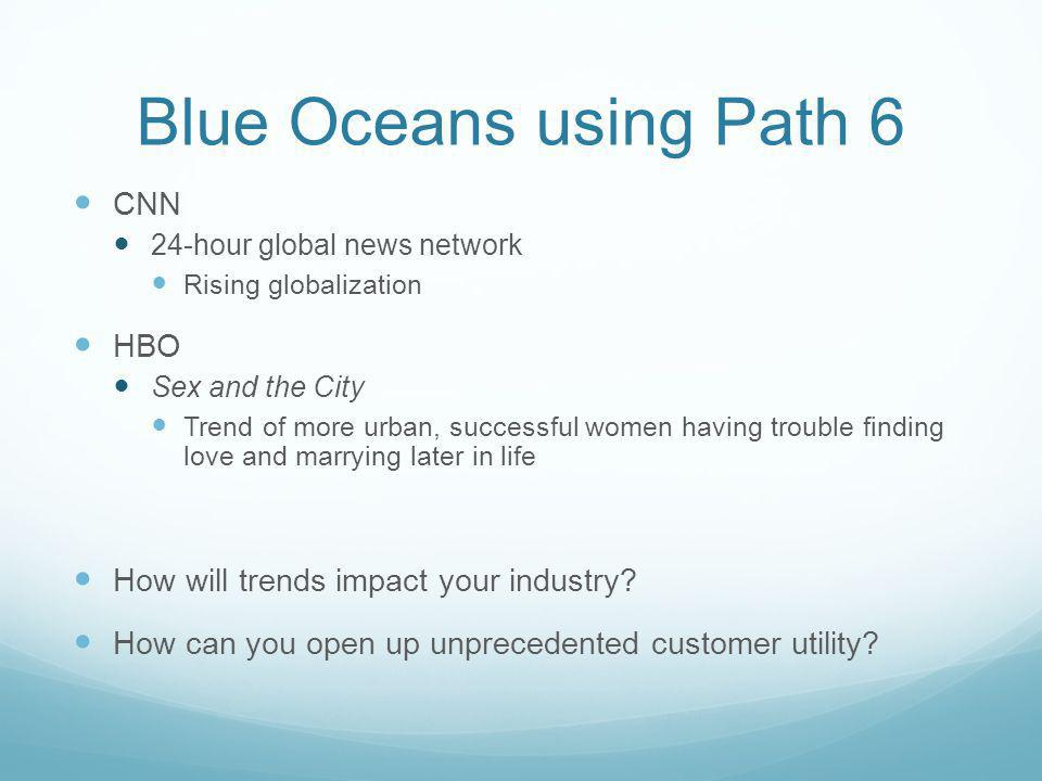 Blue Oceans using Path 6 CNN 24-hour global news network Rising globalization HBO Sex and the City Trend of more urban, successful women having troubl