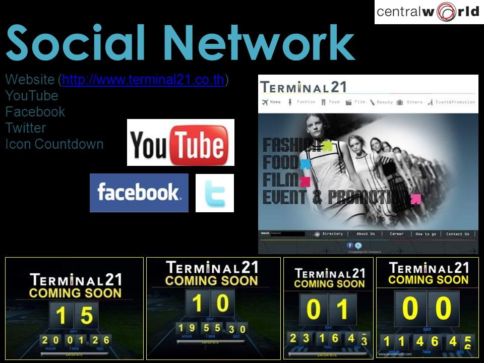 Social Network Website (http://www.terminal21.co.th)http://www.terminal21.co.th YouTube Facebook Twitter Icon Countdown