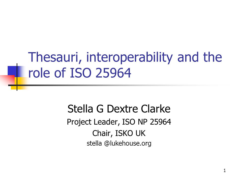 A simplified view of interoperability My thesaurus