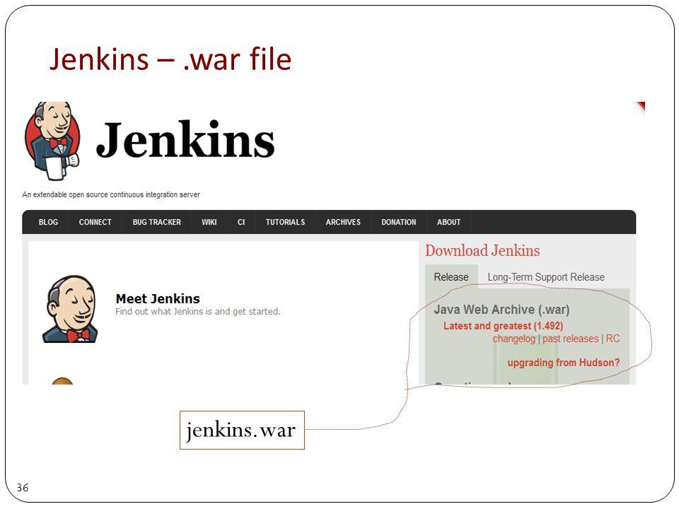 36 Jenkins –.war file jenkins.war