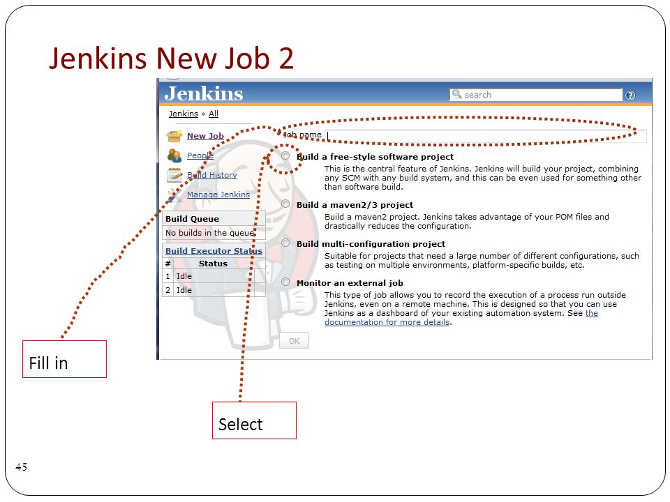 Jenkins New Job 2 45 Fill in Select