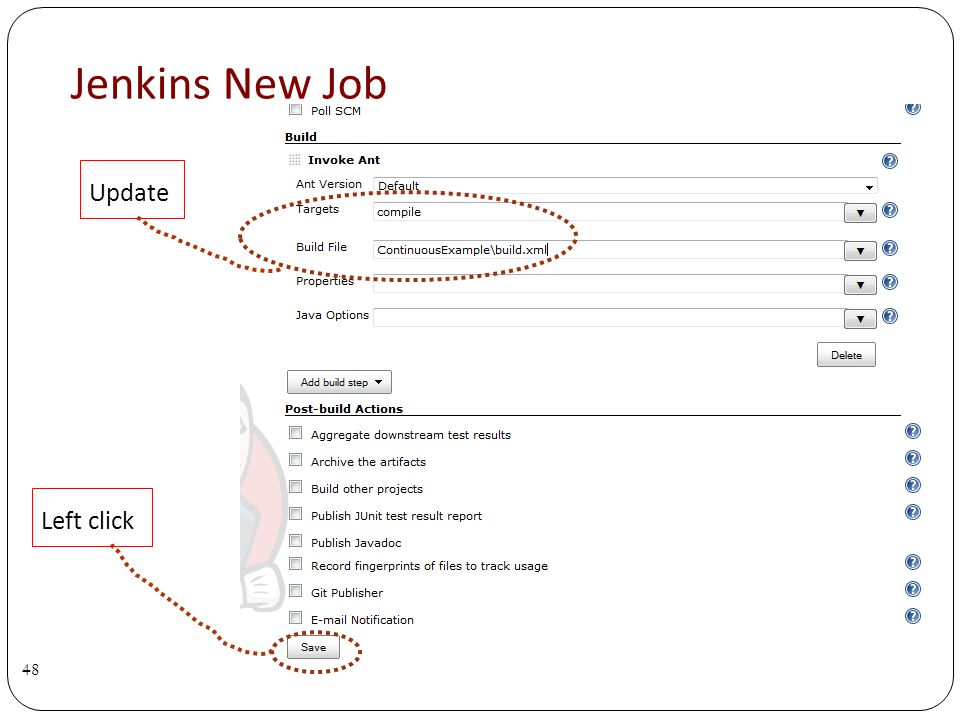 Jenkins New Job 48 Left click Update
