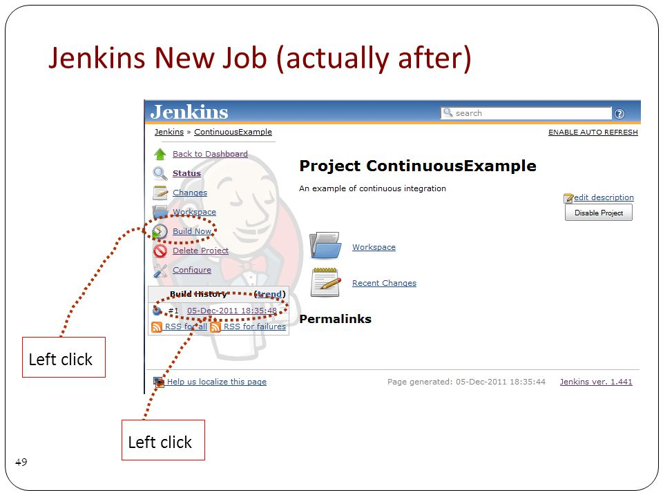 Jenkins New Job (actually after) 49 Left click