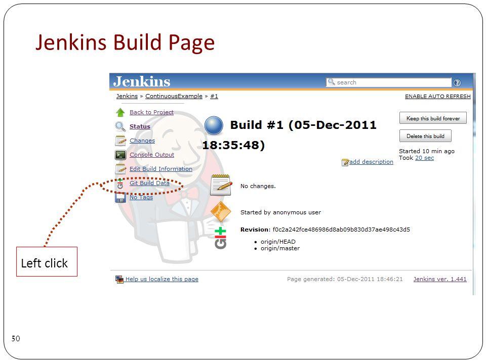 Jenkins Build Page 50 Left click