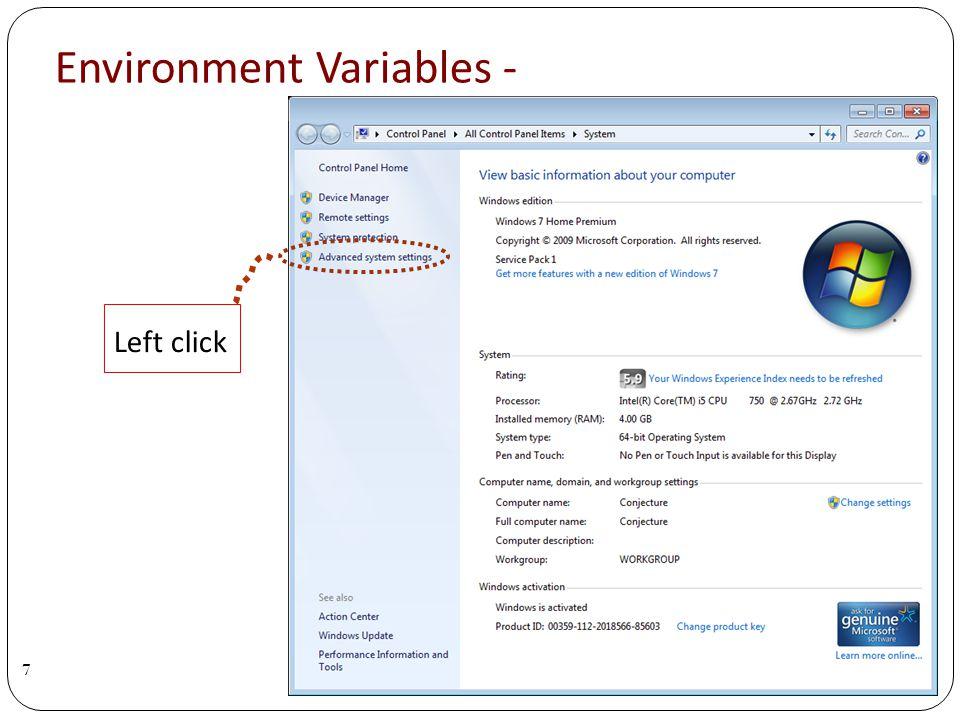 Environment Variables - 7 Left click