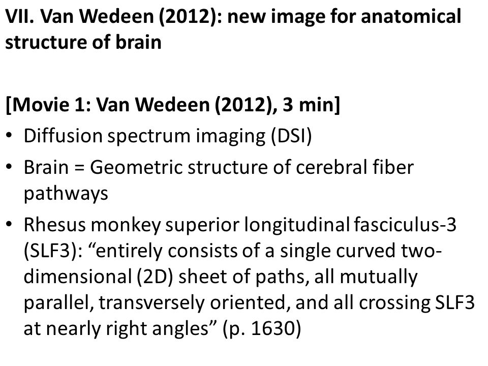 VII. Van Wedeen (2012): new image for anatomical structure of brain [Movie 1: Van Wedeen (2012), 3 min] Diffusion spectrum imaging (DSI) Brain = Geome
