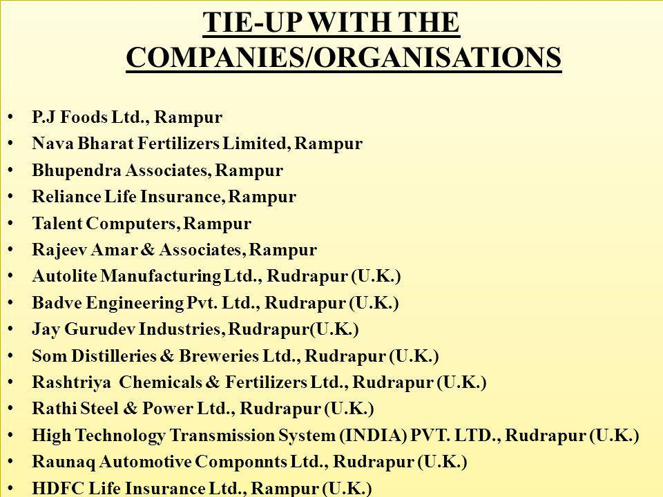 TIE-UP WITH THE COMPANIES/ORGANISATIONS P.J Foods Ltd., Rampur Nava Bharat Fertilizers Limited, Rampur Bhupendra Associates, Rampur Reliance Life Insu