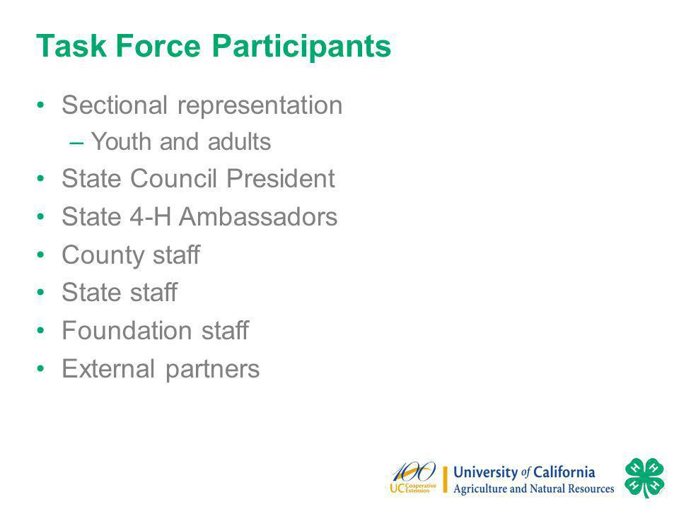 Task Force Participants Sectional representation –Youth and adults State Council President State 4-H Ambassadors County staff State staff Foundation staff External partners