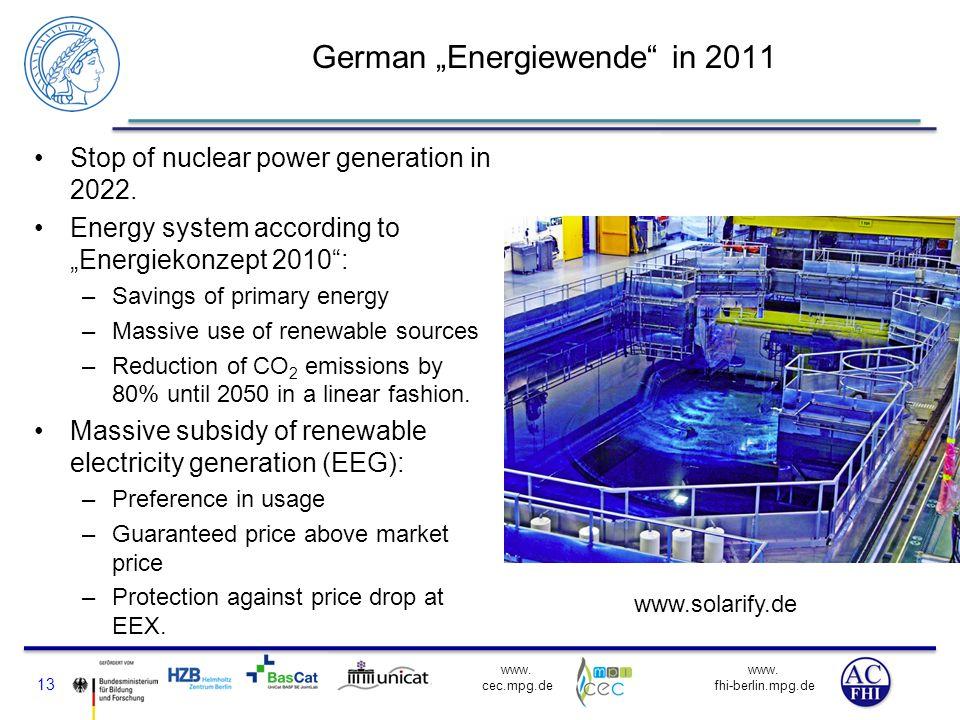 www. fhi-berlin.mpg.de www. cec.mpg.de German Energiewende in 2011 Stop of nuclear power generation in 2022. Energy system according to Energiekonzept