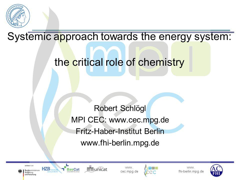 www. fhi-berlin.mpg.de www. cec.mpg.de Systemic approach towards the energy system: the critical role of chemistry Robert Schlögl MPI CEC: www.cec.mpg