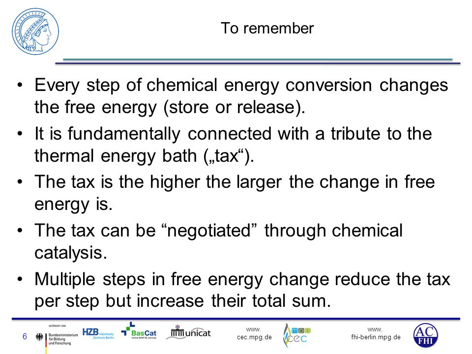 www. fhi-berlin.mpg.de www. cec.mpg.de To remember Every step of chemical energy conversion changes the free energy (store or release). It is fundamen